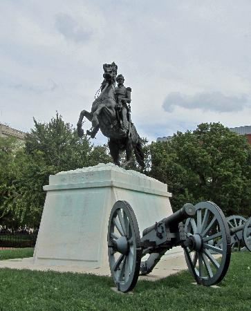Washington, D.C., DC: Statue of Andrew Jackson, Jackson Sq (across from White House)