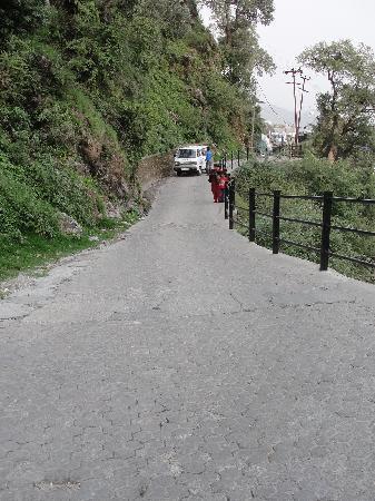 Club Mahindra Mussoorie: Steep road leading to the resort