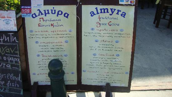 Almyra Restaurant: The Restaurant's name and sign!