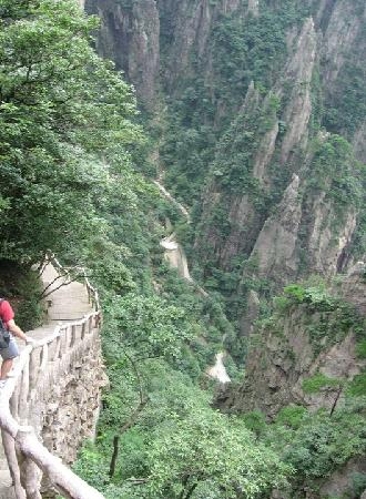Mt. Huangshan (Yellow Mountain): You have to climb down to climb back up.