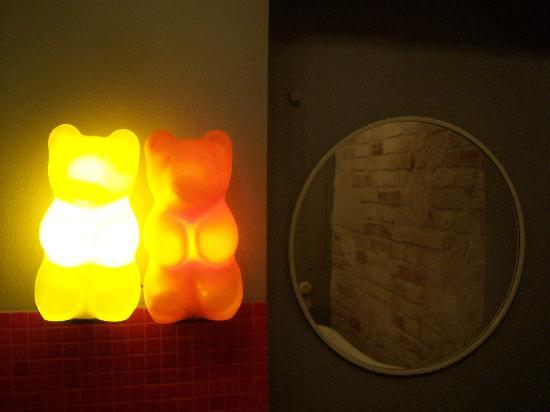 Old Town Designed Apartments : teddy bear lights in the bathroom