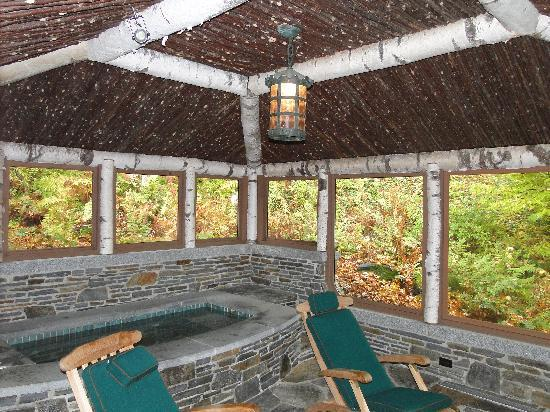 Twin Farms: exterior screened in porch with heated jacuzzi tub for Chalet Cottage