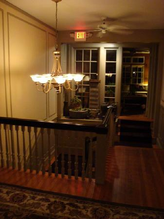 Brandt House: Chandelier over staircase