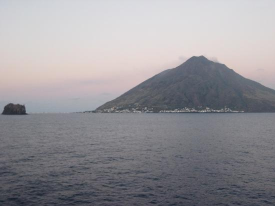 First glimpses of Stromboli from the boat
