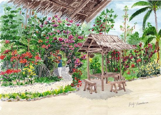 Hambilica Seaview : Garden and owner of Hambilica