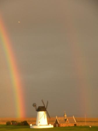 Lytham St Anne, UK: Lytham windmill with a double rainbow