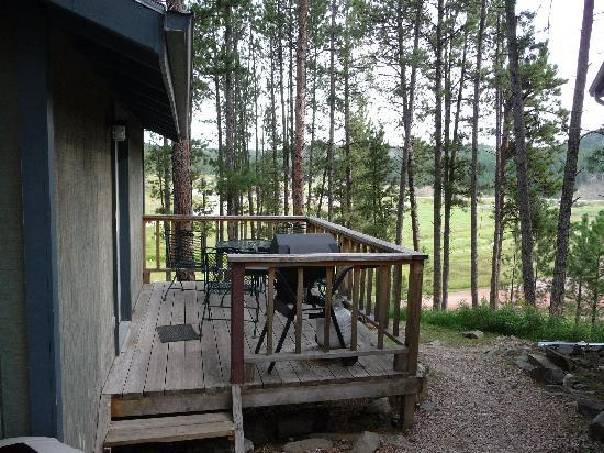 Mountain View Lodge & Cabins : deck with grill