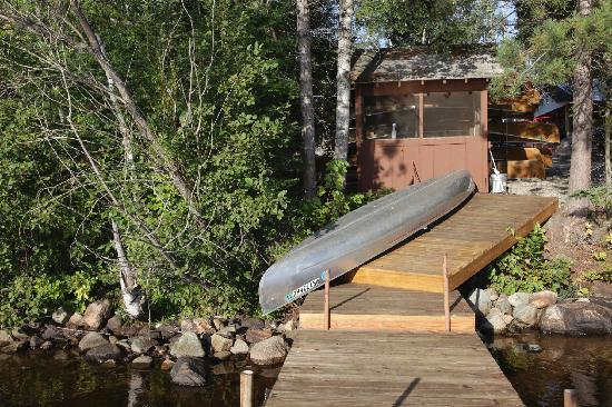 Moose Track Adventures : fish house & canoe