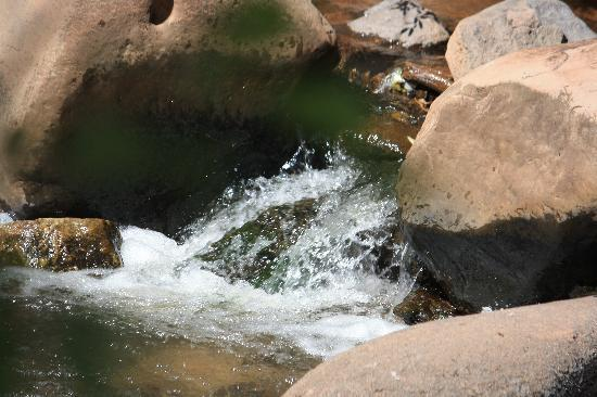 Albuquerque, Nowy Meksyk: This is a photo of some rocks and water we saw going into the Jemez mountains