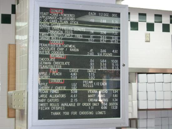 Long's Bakery: Menu