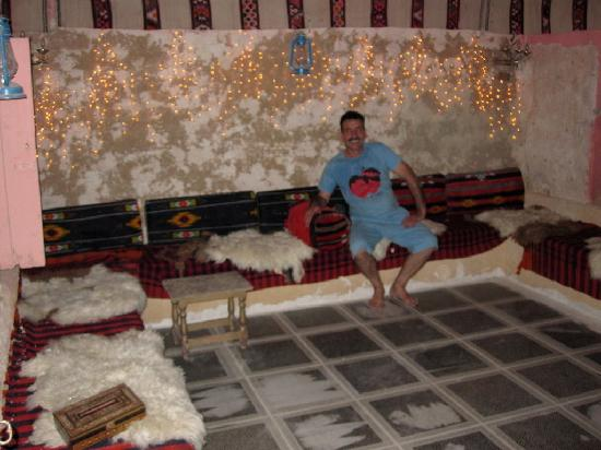 Warm Apple Pie: Eyad in one of the Bedouin style rooms