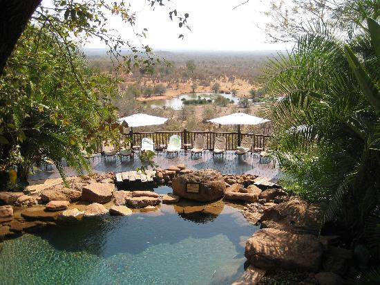 Victoria Falls Safari Lodge: Swimming pool with waterhole in background