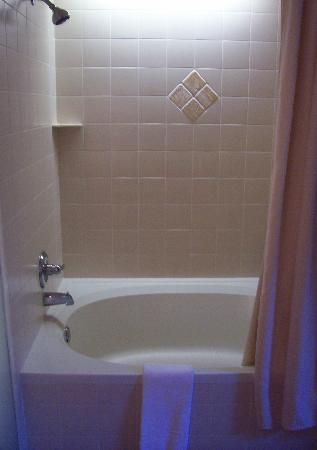 Hawthorn Suites by Wyndham Overland Park: Giant tub/shower - no curtain-sticking here!  ;-)