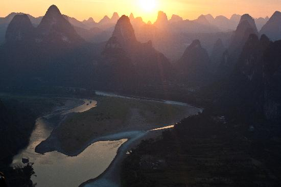 Yangshuo, China: Sunset from Lao Zhai Peak, Xingping