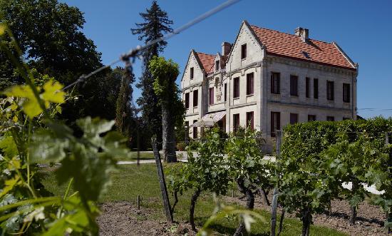 Chateau Lavergne-Dulong - Chambres d'hotes: le château depuis les vignes