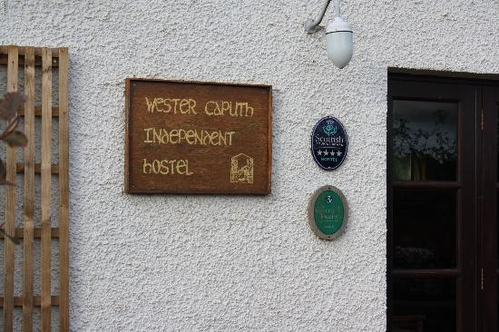 Wester Caputh Steading Hostel: the sign board