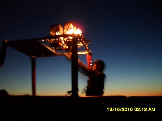 Up, Up And Away Hot Air Balloon: Our Pilot Nigel Howard firing up the burners