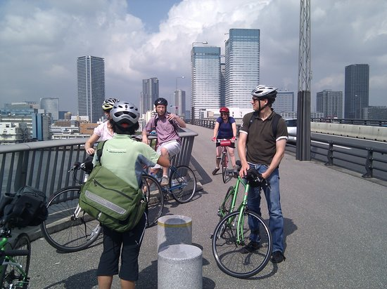 Tokyo Great Cycling Tour: During a brief pause on one of the bridges