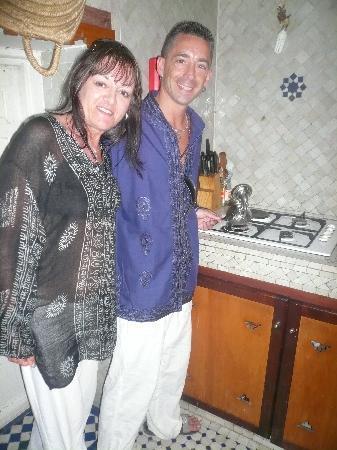 Riad Tizwa Fes: Us making mint tea at riad tizwa, fes