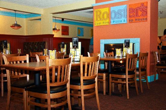 Rooster's Coal Fired Pizza & Tap House: Vibrant colors for a fun and exciting atmosphere