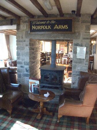 The Norfolk Arms: Log Burner in bar area