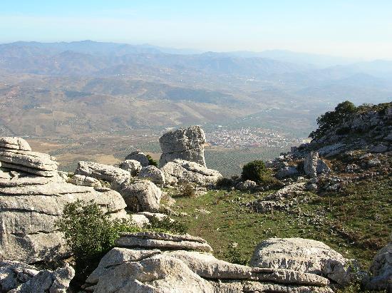 Paraje Natural Torcal de Antequera: Blick vom Nationalpark Richtung Malaga und Meer