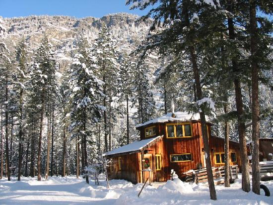 North Cascades Basecamp: wintery octagonal cabin in the sunshine