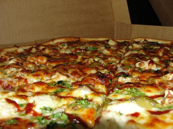 Upper Crust Pizza : BBQ chicken pizza a house specialty.
