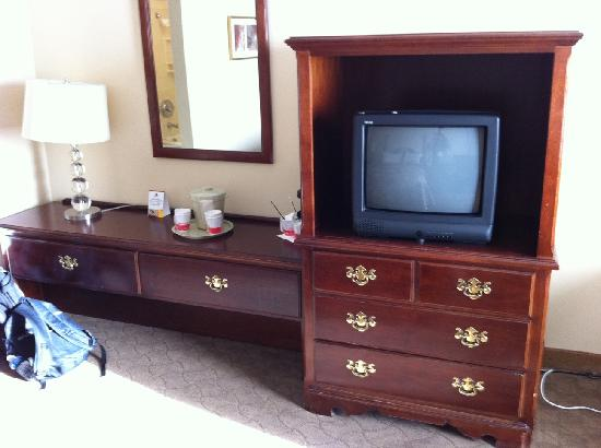 Edmonton Inn and Conference Centre: older style TV and drawers
