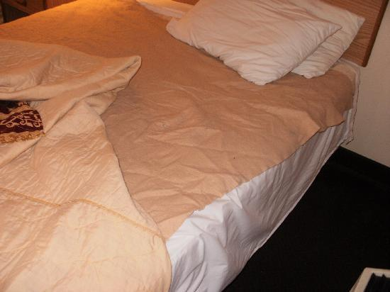 Super 8 Lancaster: this was how the bed was made under the blanket.