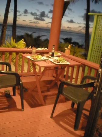 Bella Beach Bungalows: Evening meal from the deck