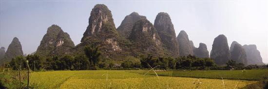 Yangshuo Mountain Retreat from fields