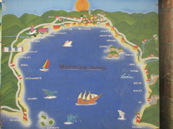 Puerto Vallarta World Map.A Caricature Style Map Of Banderas Bay Picture Of Hacienda