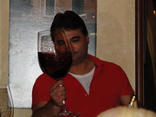 A la Valigia: biggest glass of wine I've ever seen