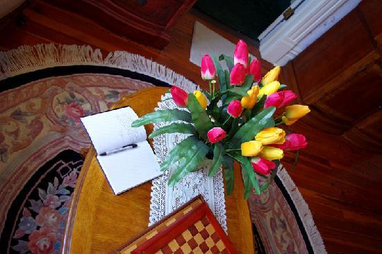 """Stanford Inn: Flowers outside the """"Cabbage Rose"""" room, what would have been Vada's room in My Girl"""