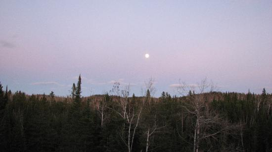 Baptism River Inn Bed and Breakfast: Full moon rise view from private deck.