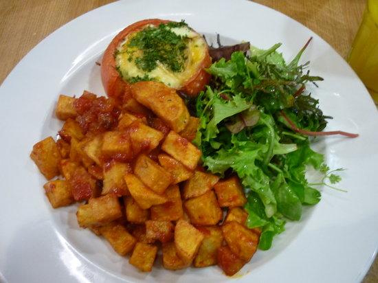 Green Nineteen: Baked egg stuffed tomato & patatas bravas
