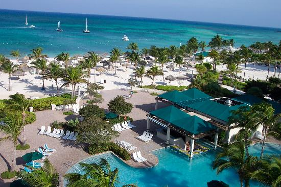 Marriott's Aruba Ocean Club: View of beach and pool area at Ocean Club. What you see is what you get.