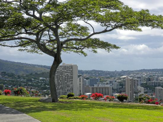 National Memorial Cemetery of the Pacific: View of Honolulu from the Crater