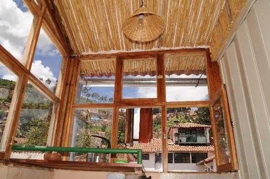 Casa de Mama Cusco-The Treehouse: Looking outward and upward from kitchen in top apartment.
