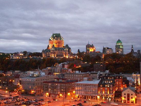 Grand Times Hotel - Quebec City Airport: Chateau Frontenac & Old Quebec from our cruise ship at dusk.