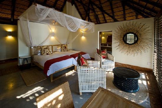 Mfuwe Lodge - The Bushcamp Company : A bedroom at the newly refurbished Mfuwe Lodge, South Luangwa, Zambia