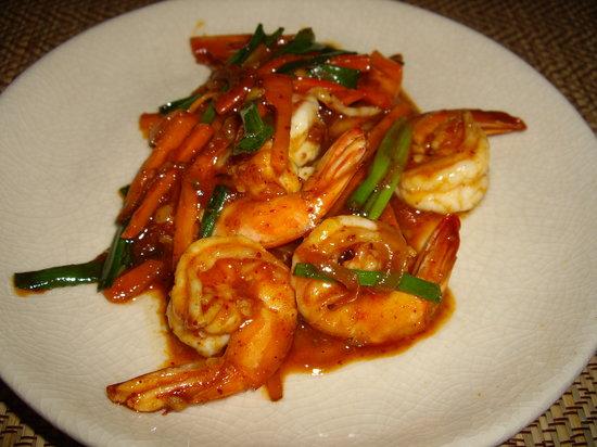 Basil Cookery School: crevettes au curry