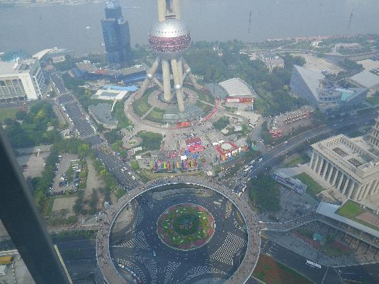 The Ritz-Carlton Shanghai, Pudong: view from our room looking down on traffic circle
