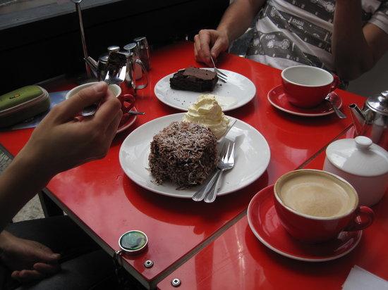 Fridge: Lamington cake and a chocolate slice