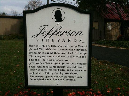 Jefferson Vineyards : HISTORY OF VINEYARD