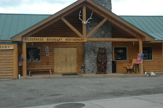 Wilderness Boundary Restaurant: Our New Greeter, A 1500 lb Carved Grizzy Bear and Cub