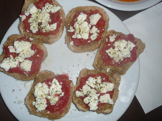 Eleonas: Creatan dakos-with fresh tomatoes and home made olive oil and herbs and feta cheese-AMAZING!