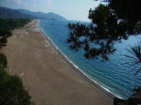 view to cirali beach from olympos
