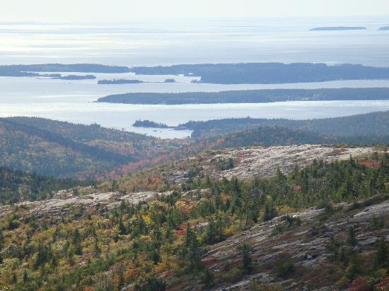 White Birches Motel: View of Porcupine Islands from Cadillac Mtn.